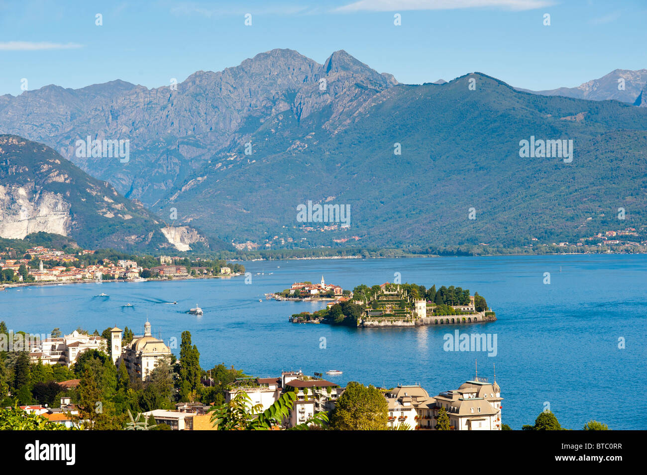 The town of Stresa and Isola Bella on Lago Maggiore Italy - Stock Image