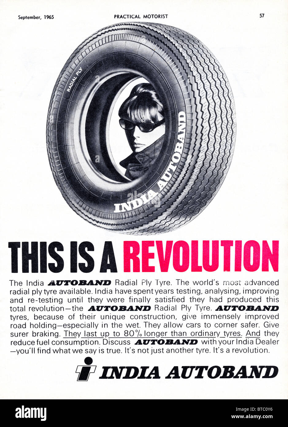 Advert for India Autoband radial ply tyres in Practical Motoring magazine dated September 1965 - Stock Image