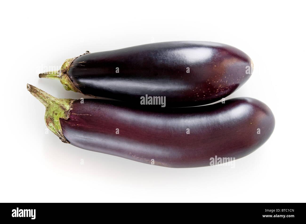 fresh eggplant on a white background - Stock Image