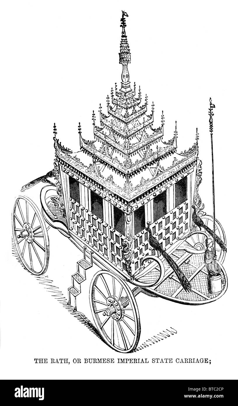 The Rath or Burmese Imperial State Carriage, captured in September 1825 at Tavoy, Burma. Black and White Illustration - Stock Image