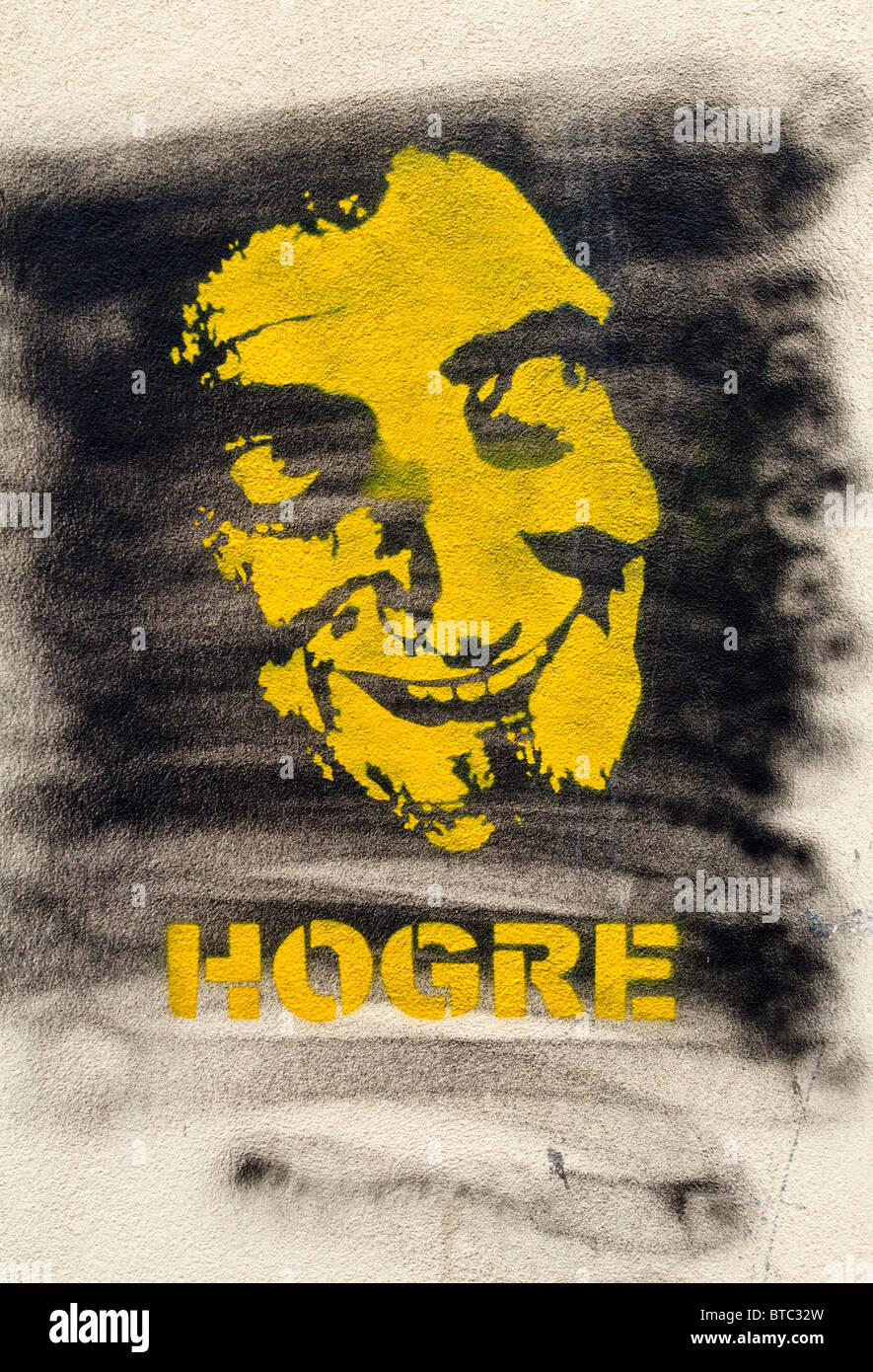 Hogre graffito on a wall in Arezzo, Italy - Stock Image