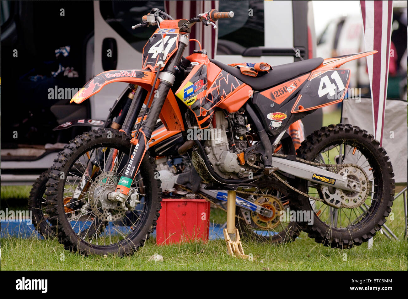 motorcross bike motocross motor moto cross X ktm off road racing cycle cycles bikes chunky tires tire tyres tyre - Stock Image