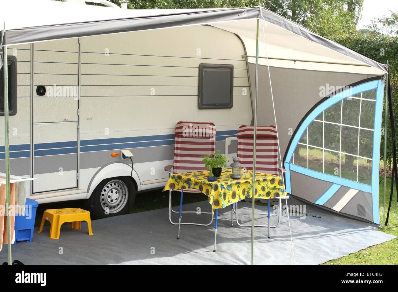 Touring caravan with a veranda awning - Stock Image