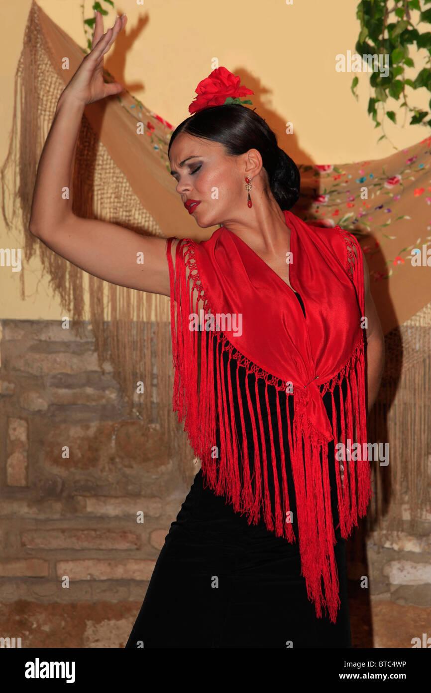 Flamenco dancer at the Tablao Cardenal in Cordoba, Spain - Stock Image