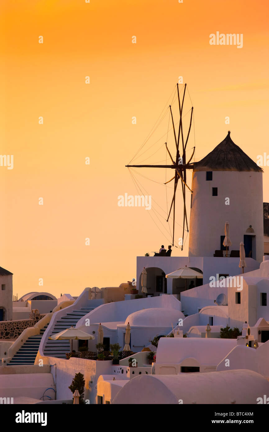 Oia Santorini Cyclades Islands Greece in evening light - Stock Image