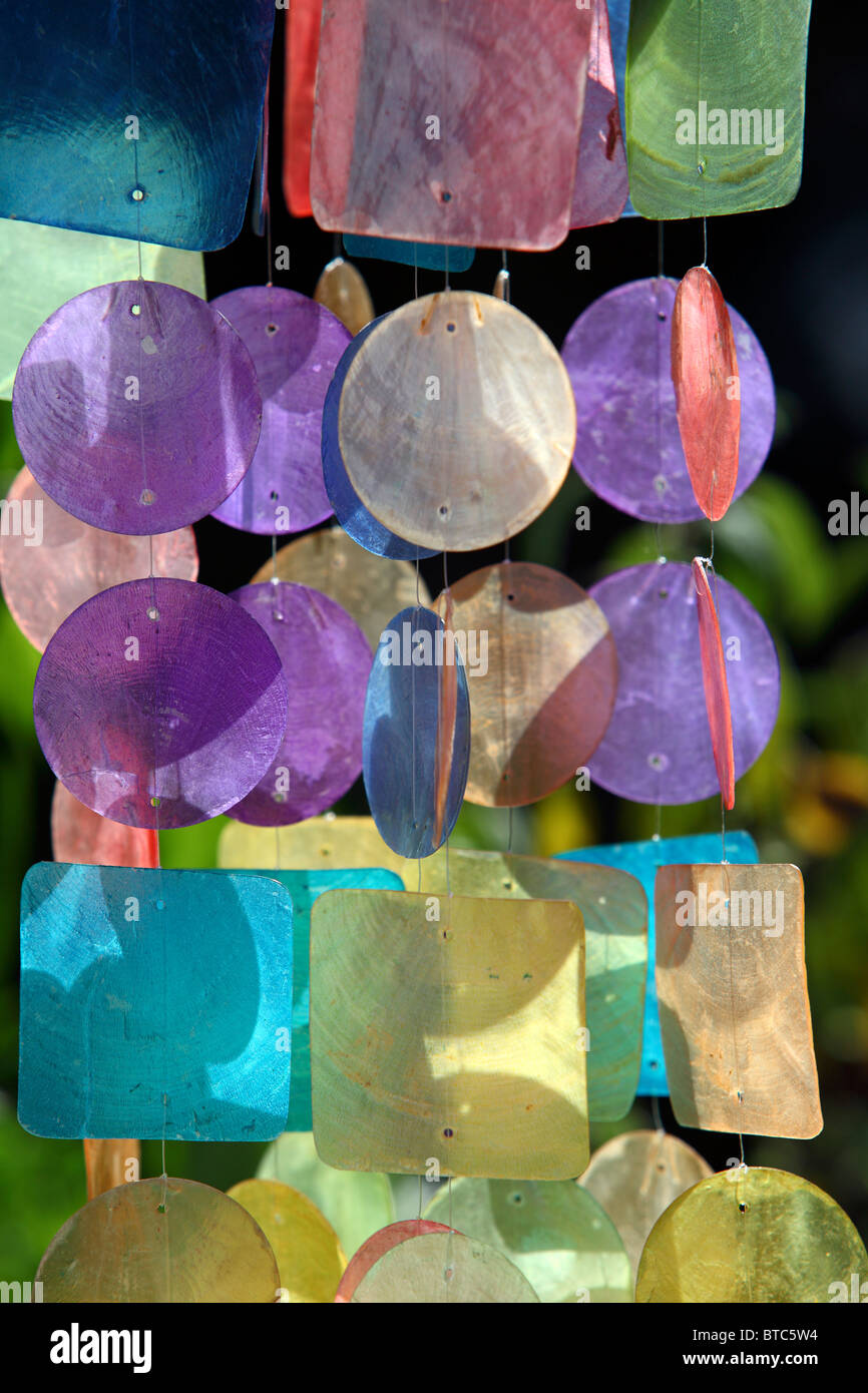 Colorful wind chime. - Stock Image