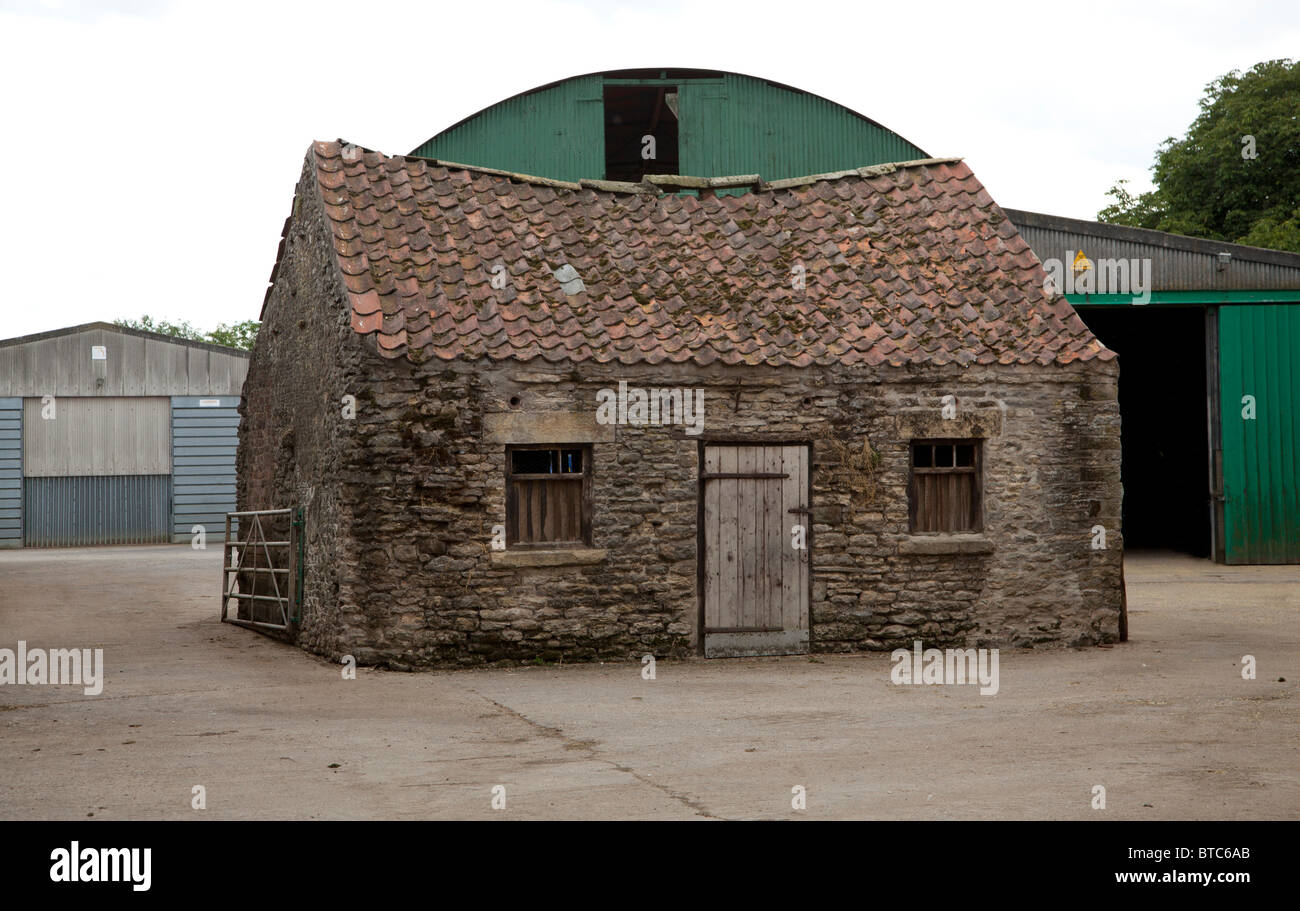 Old and new farm buildings in North Yorkshire. - Stock Image