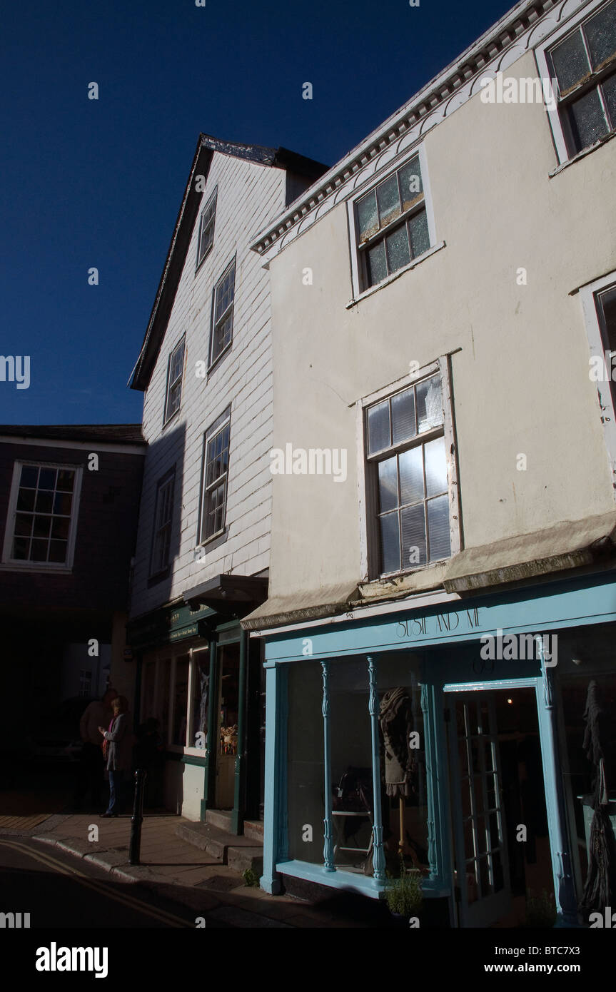 Totnes high street,English, historic, town, towns, totnes, high, street Location :Totnes town centre South Devon - Stock Image