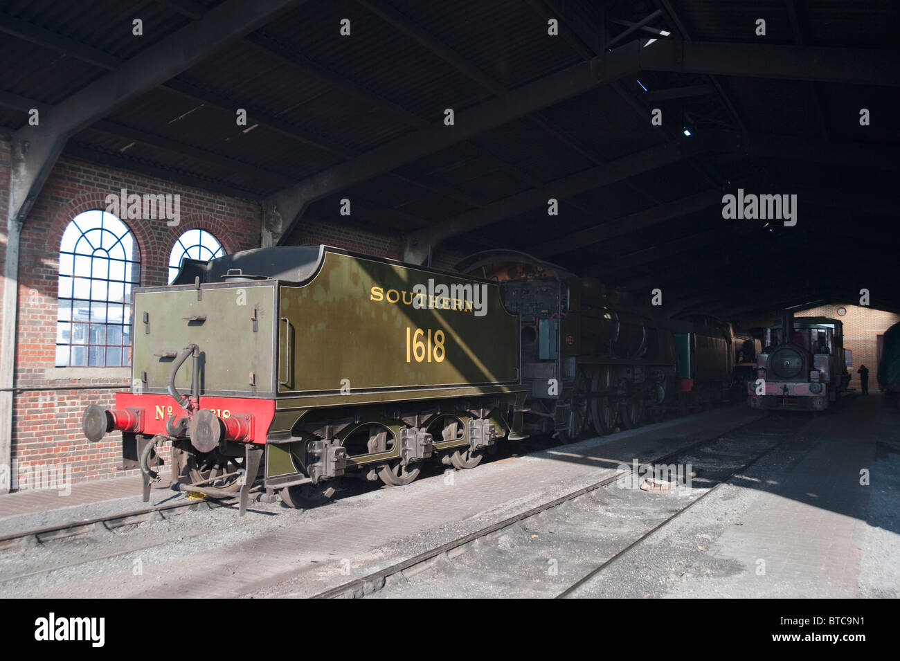 SR Maunsell U-Class Steam Locomotive, No 1618, Engine Shed, Sheffield Park, Bluebell Railway, Sussex, England - Stock Image