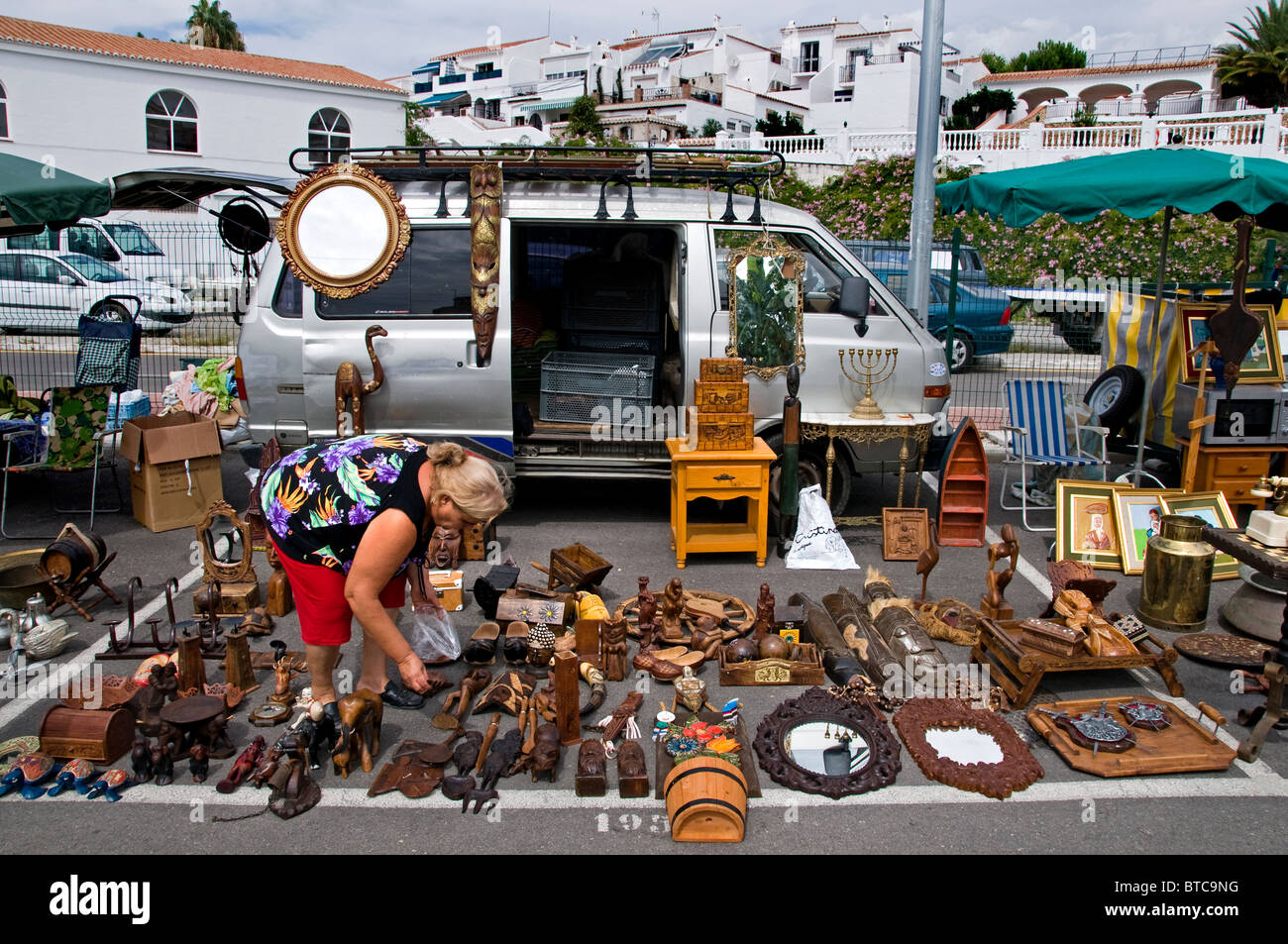 Nerja Malaga Town Spain Flea Market Antique Shop Store Stock