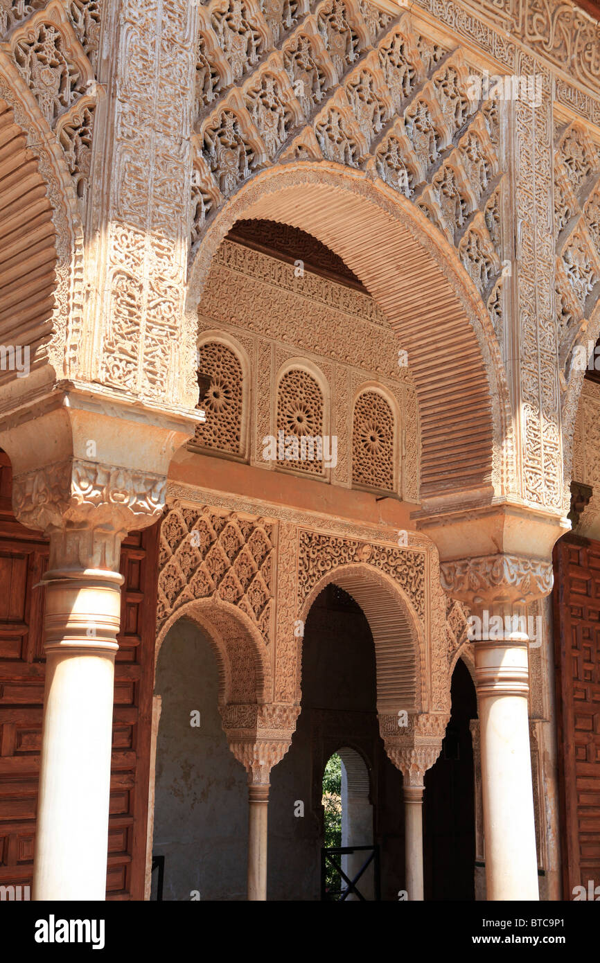 detail of islamic architecture at the generalife in granada spain