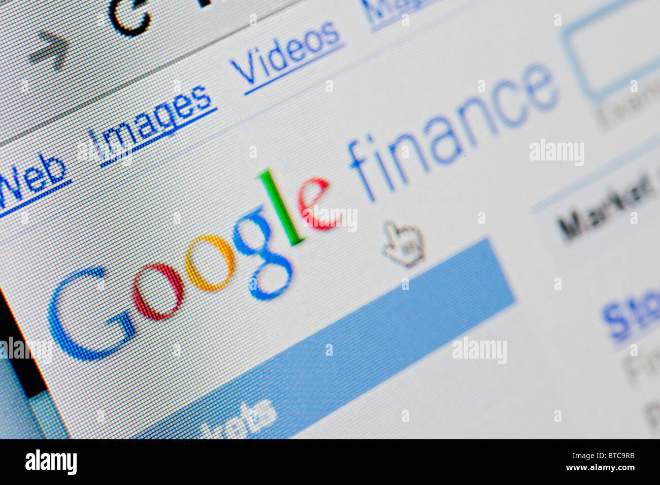 Screenshot from homepage of Google - Stock Image