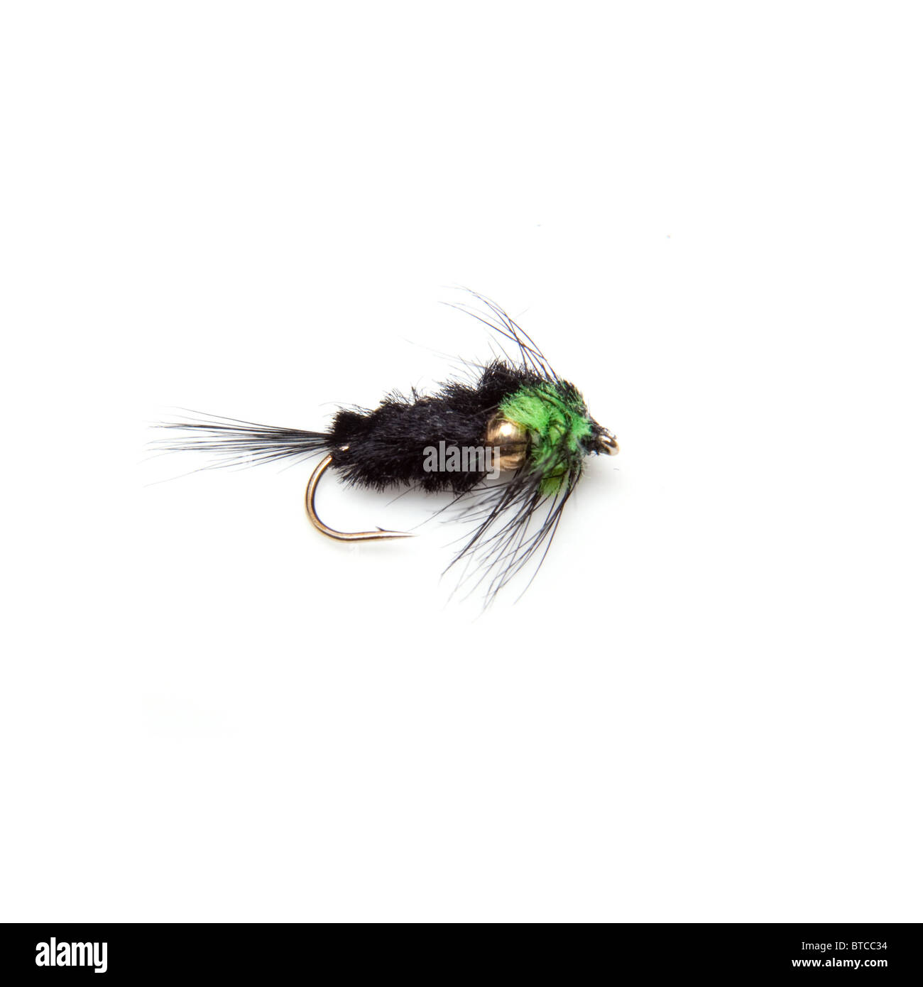 Montana trout fly weighted isolated on a white studio background. Stock Photo