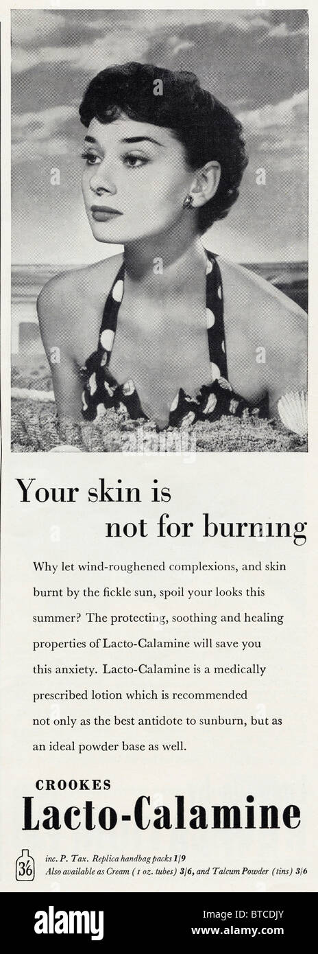 Audrey Hepburn in an early modeling job photographed by Angus McBean used in an advert for calamine lotion in VOGUE - Stock Image