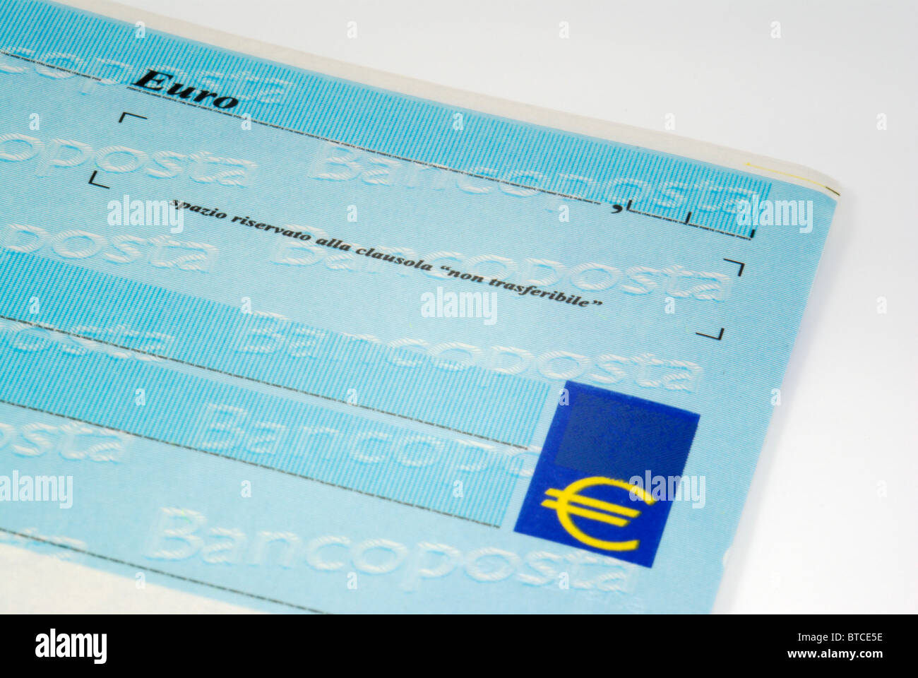 Banco Posta Italian cheque (check) close-up detail - Stock Image