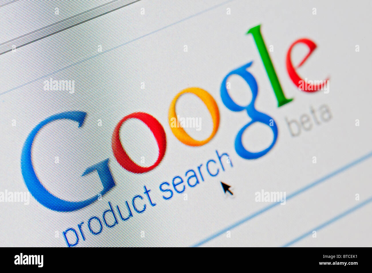 Screenshot from homepage of Google Product Search internet search engine - Stock Image