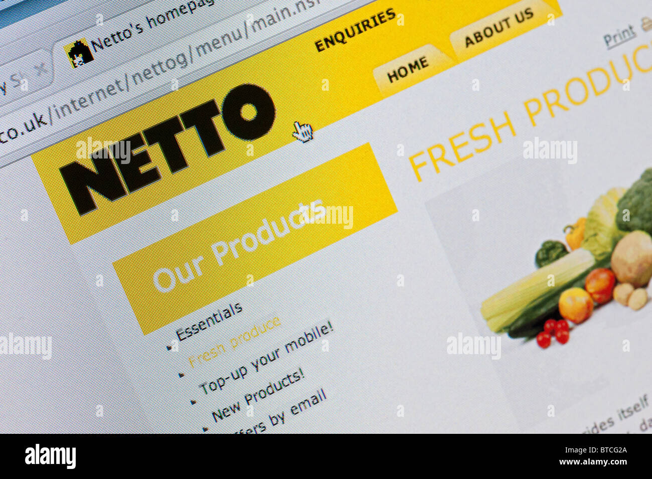 Detail of screenshot from website of Netto home shopping and delivery service - Stock Image