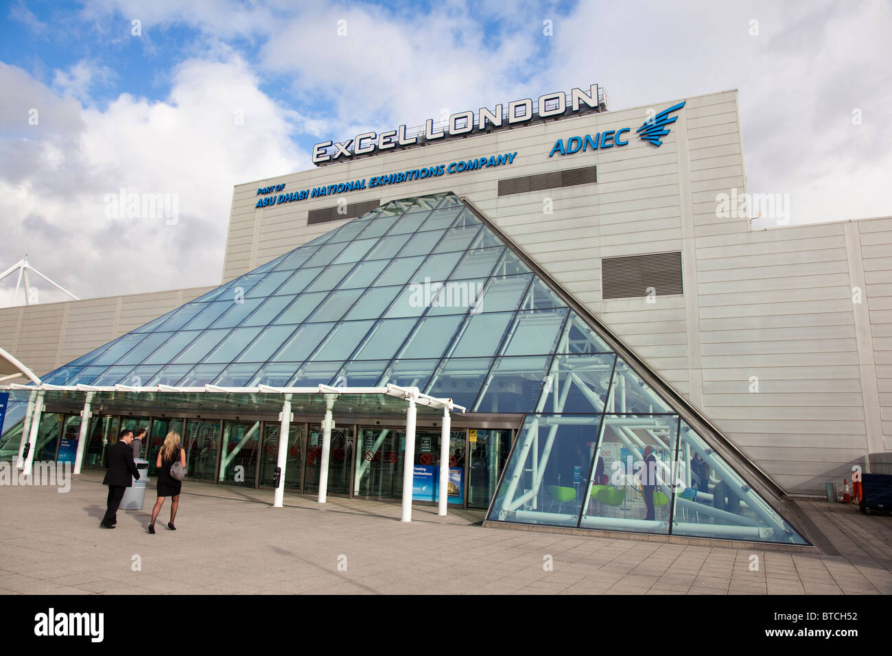 ExCel Exhibition Centre (part of ADNEC Abu Dahbi National Exhibition Company), Royal Victoria Dock, London, UK - Stock Image