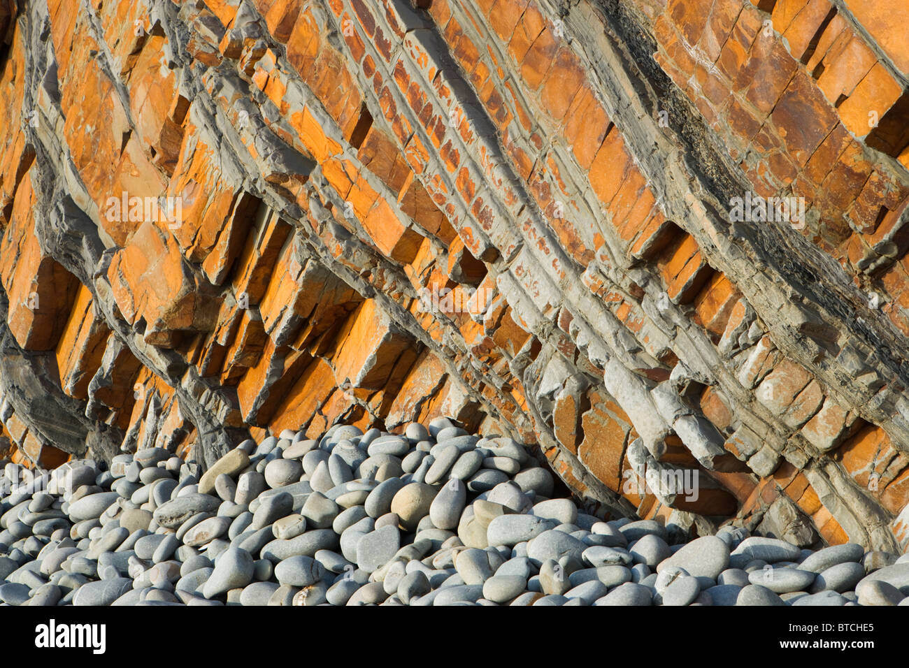 Sandstone cliffs at Sandy Mouth near Bude, Cornwall, UK - Stock Image