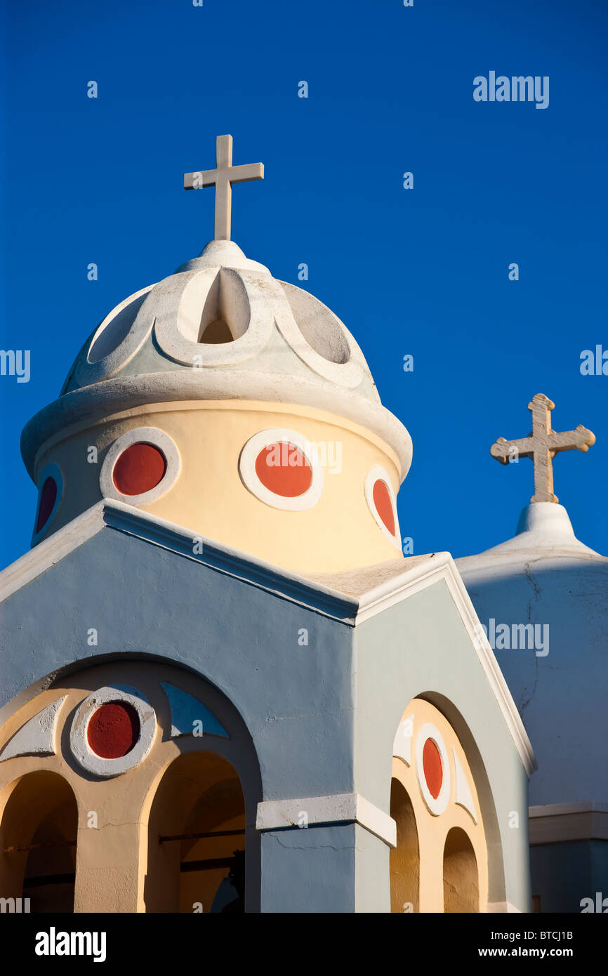 Church Dome and Bell Tower Fira (Thira) Santorini Cyclades Islands Greece - Stock Image