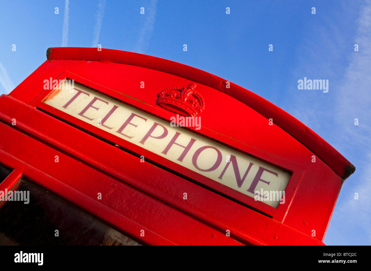 Detail of red K6 UK telephone box designed by Sir Giles Gilbert Scott and still found widely used across the United - Stock Image
