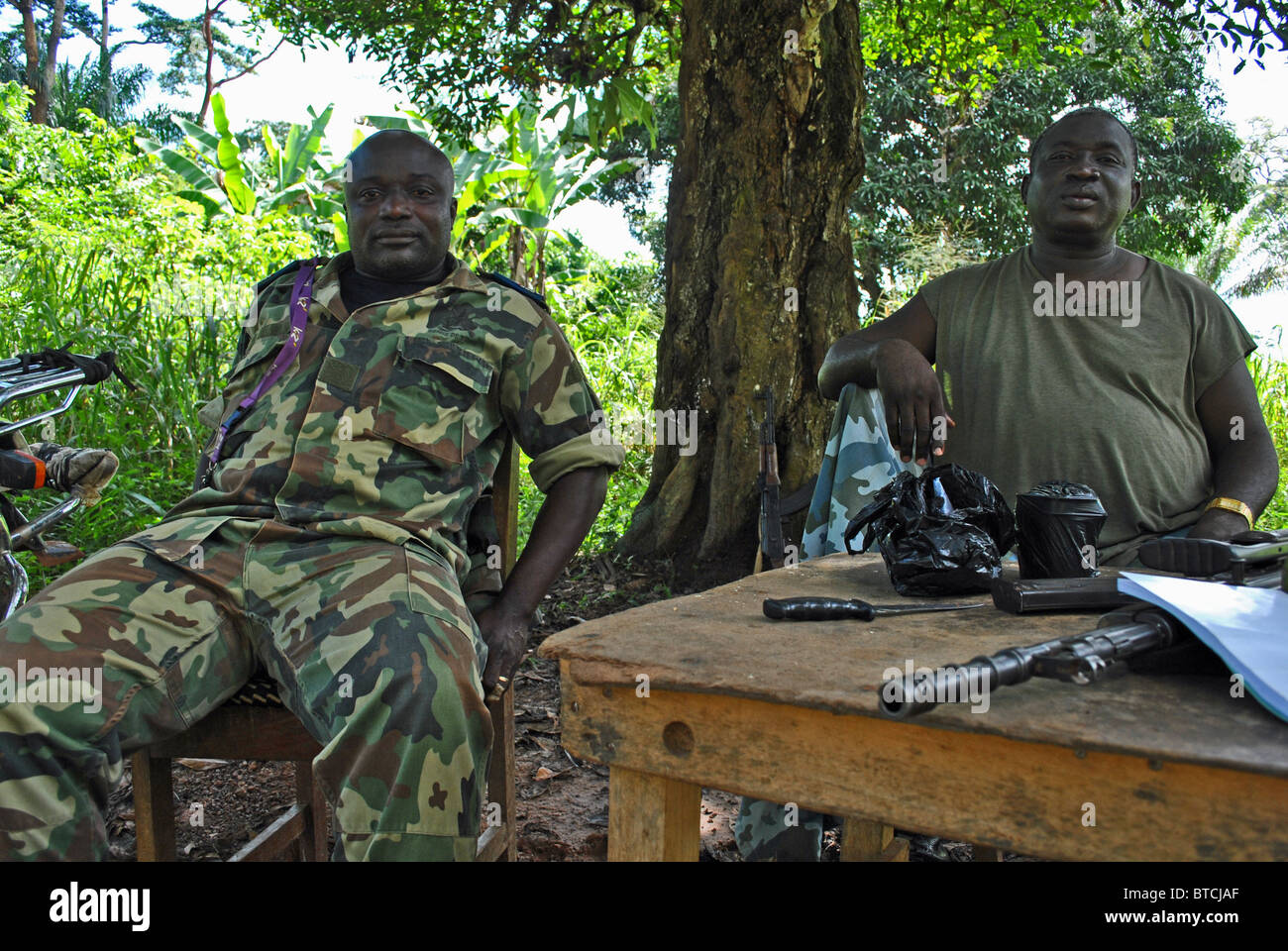 Military roadblock in Guiglo, Ivory Coast, West Africa - Stock Image
