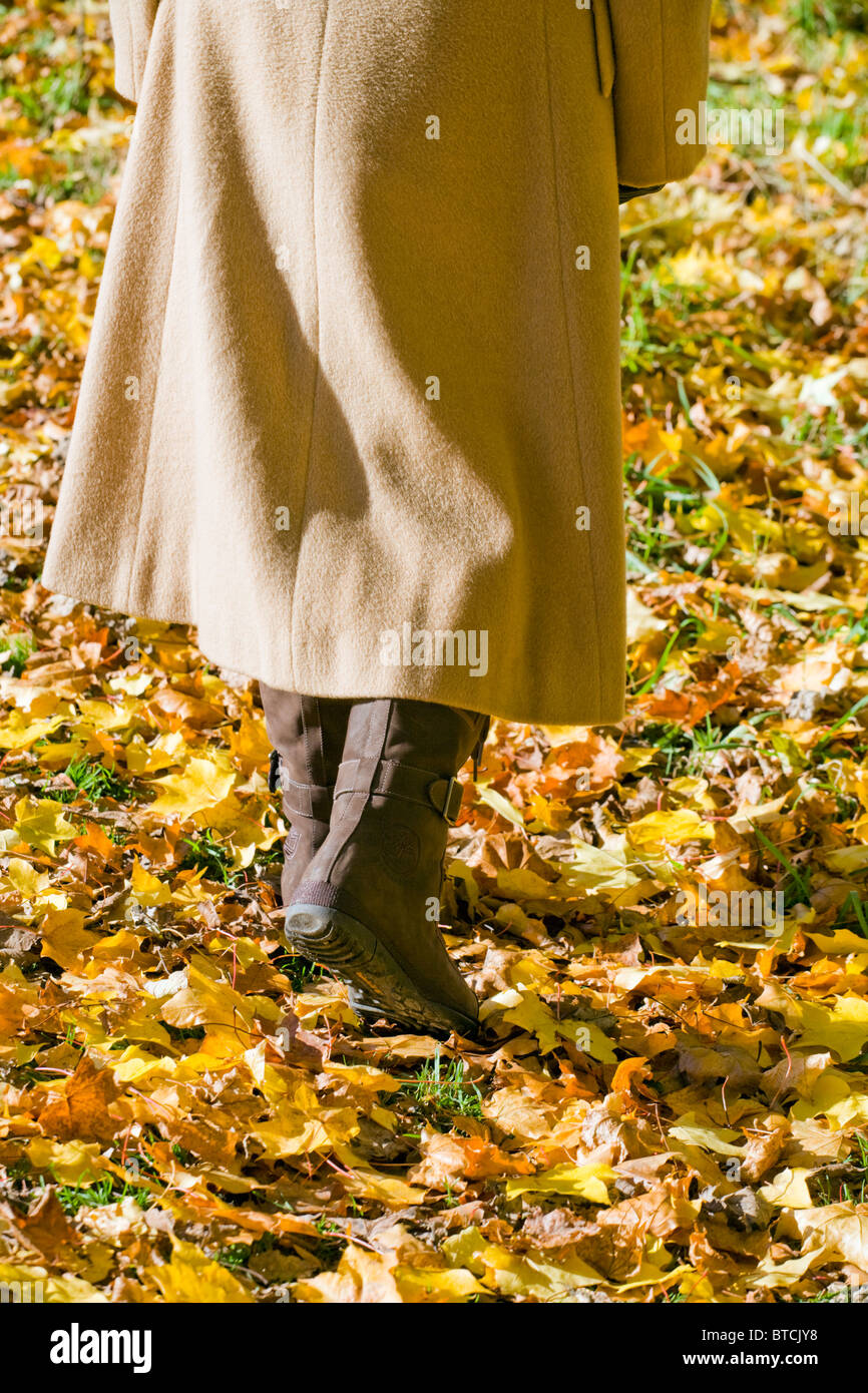 LOWER SECTION OF WOMAN WALKING ON AUTUMN LEAVES IN WINTER ALONE. Stock Photo