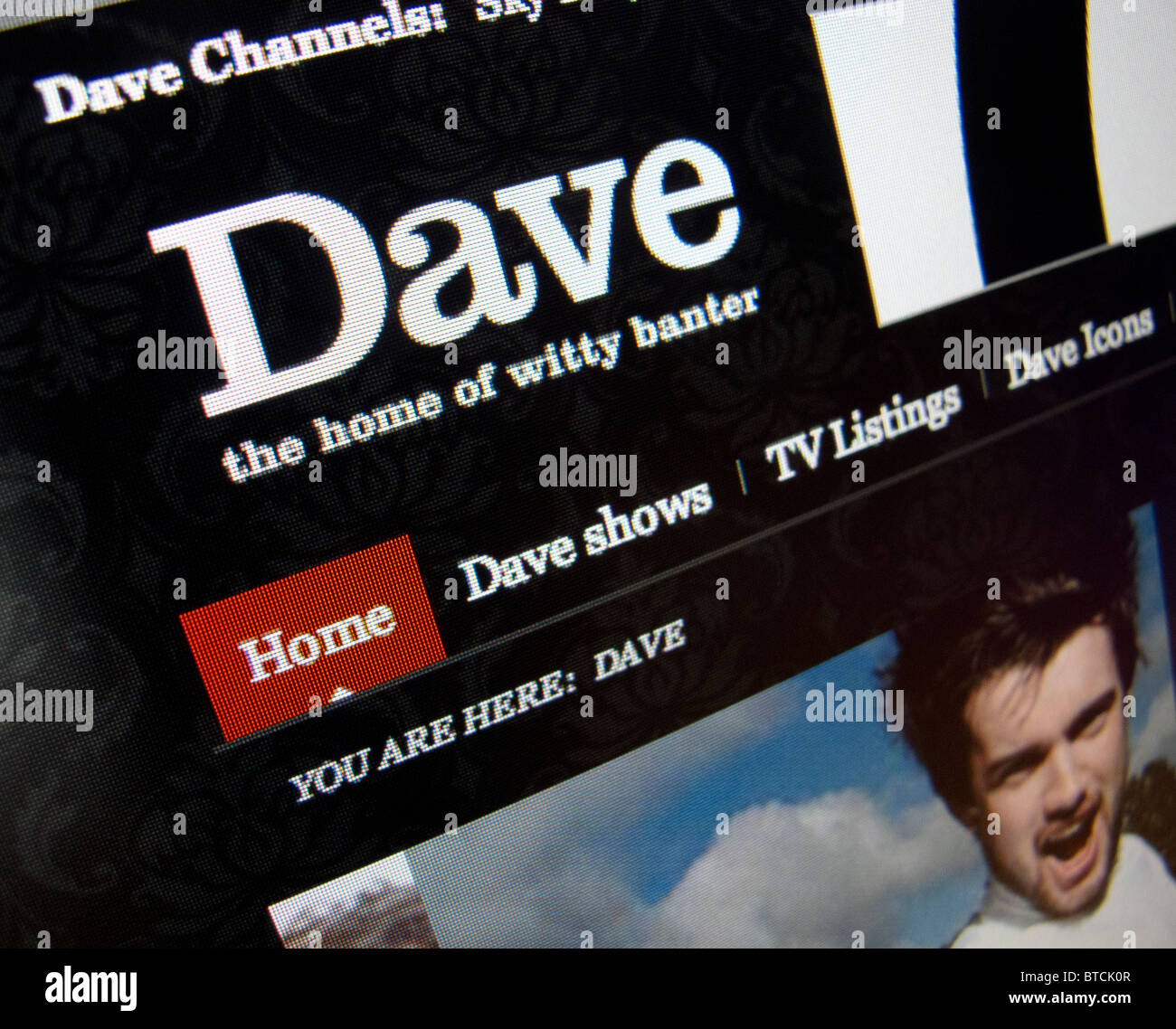 Detail of screenshot from Dave entertainment  internet website homepage - Stock Image