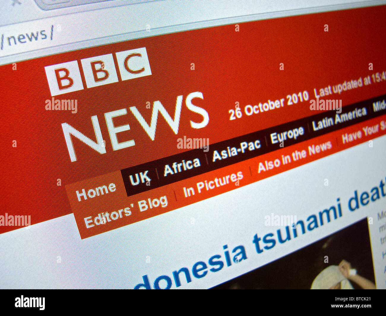 Screenshot from homepage of BBC television News channel website - Stock Image
