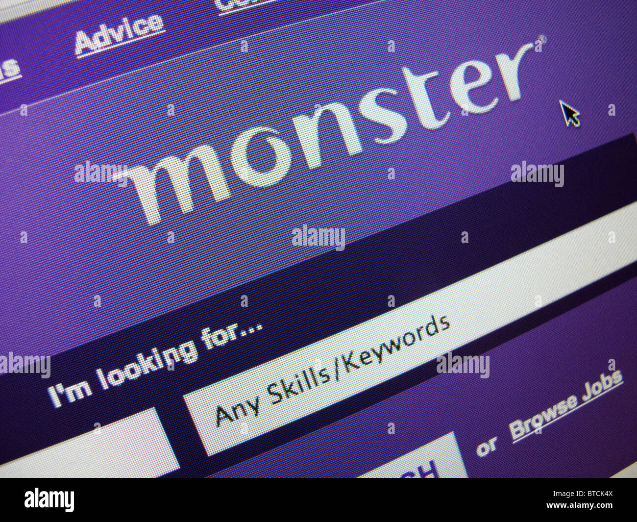 Detail of screenshot from recruitment and jobs Monster  internet website homepage - Stock Image