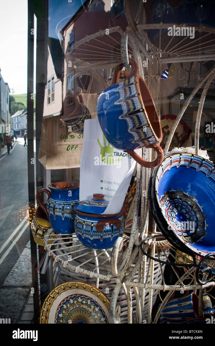 Totnes high street,Ninth funkiest town in the world,ceramics,Baltic Wharf in Totnes, South Hams Devon,Independent - Stock Image