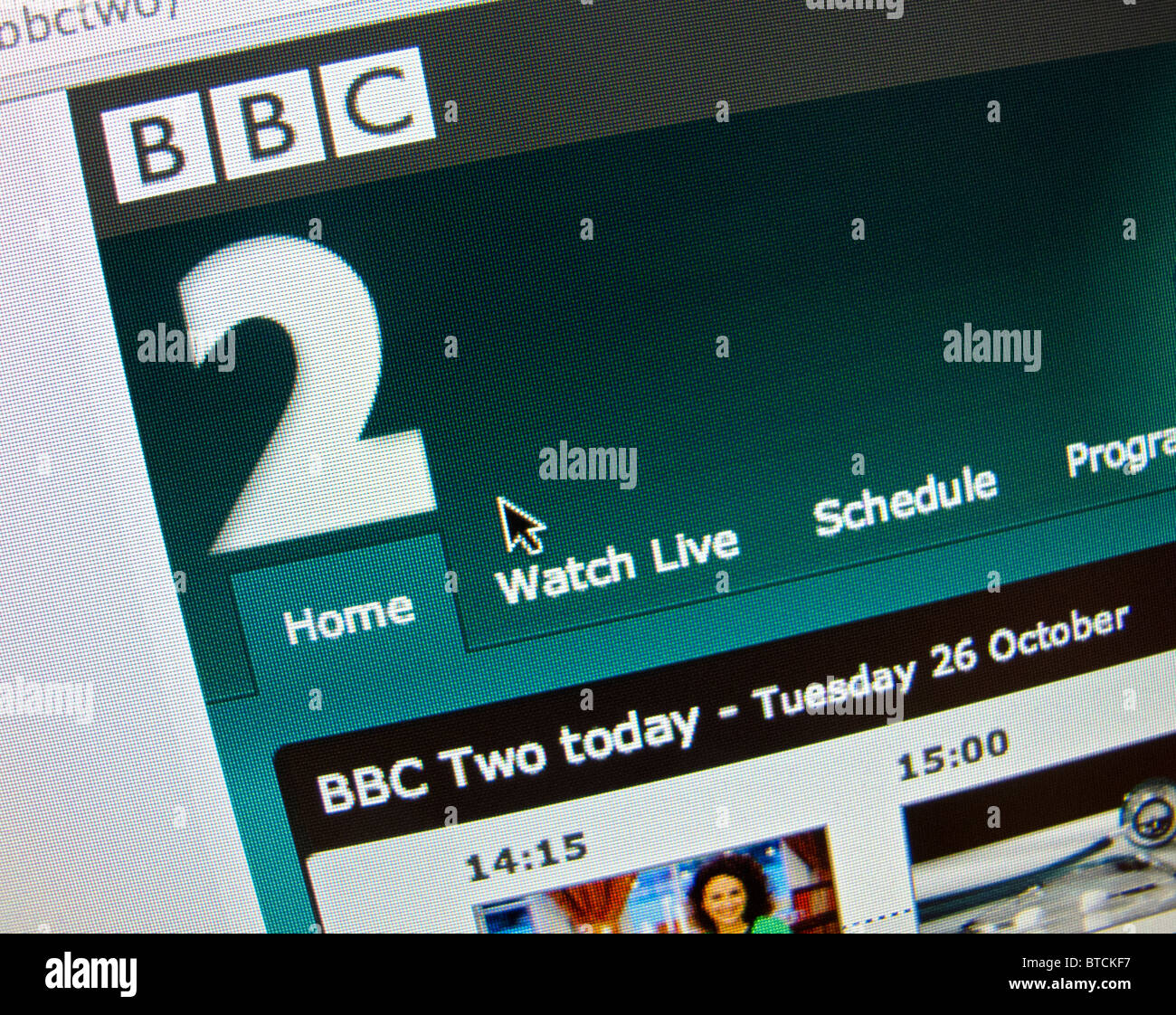 Screenshot from homepage of BBC television channel Two website - Stock Image