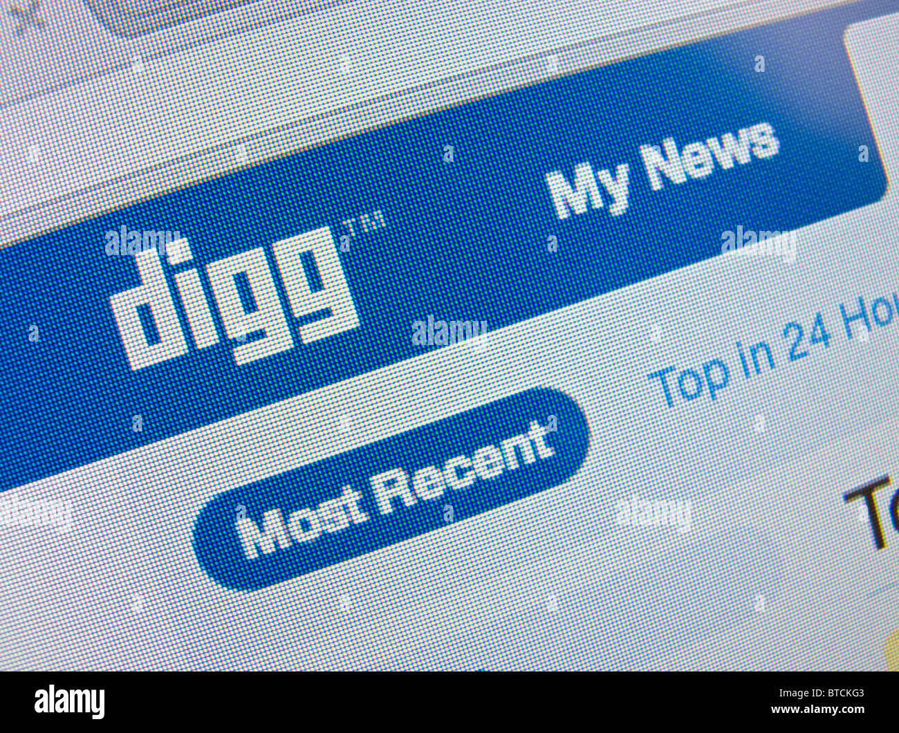 Detail of screenshot from Digg social  internet website homepage - Stock Image