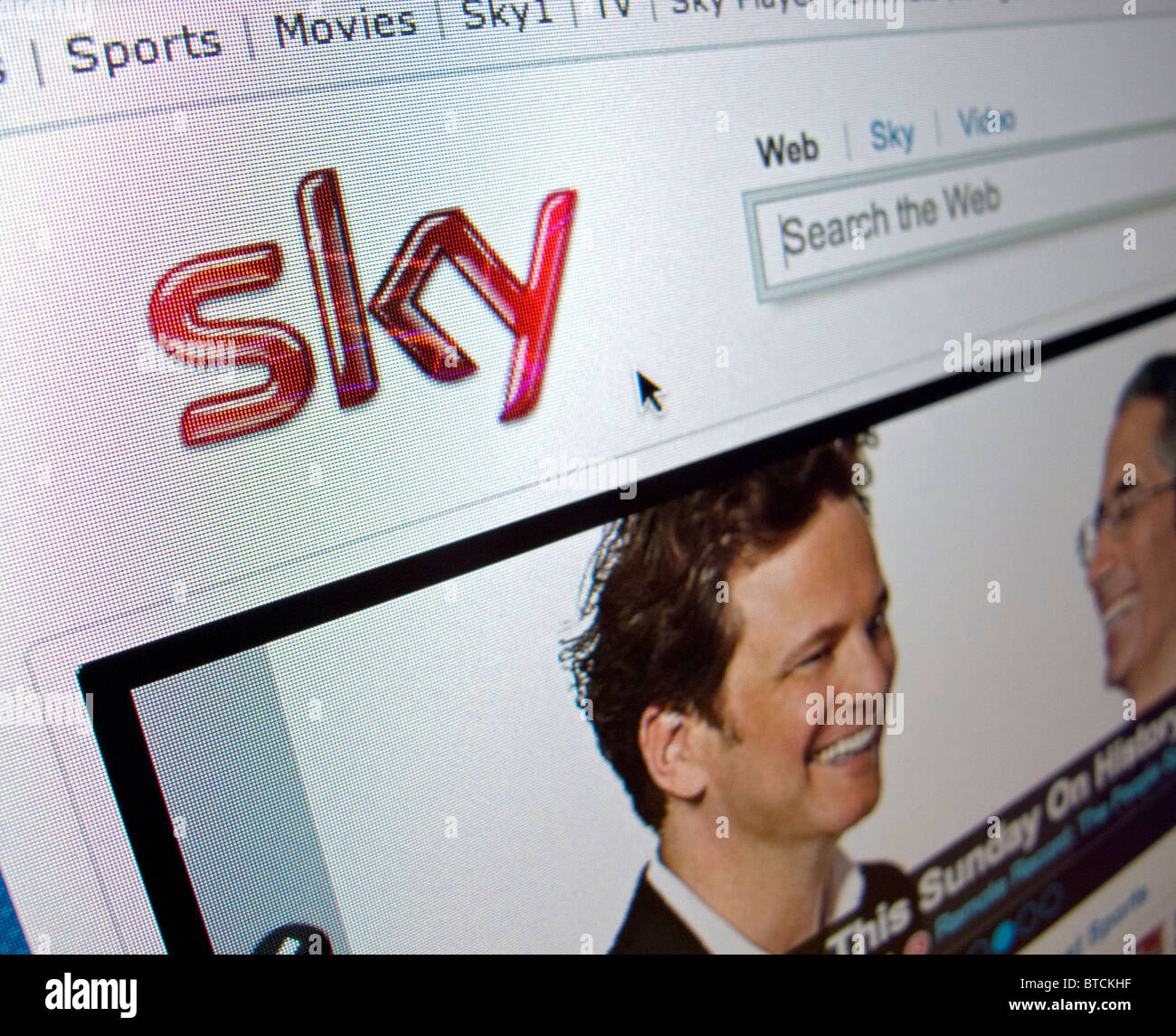 Detail of screenshot from Sky television  internet website homepage - Stock Image