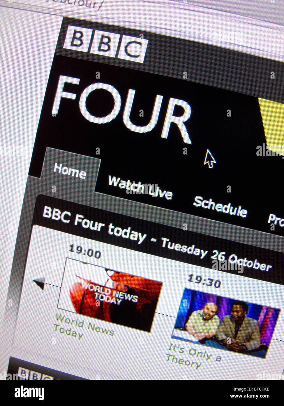 Screenshot from homepage of BBC television channel Four website - Stock Image