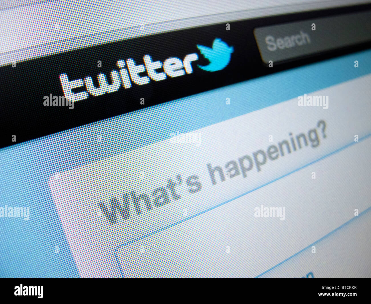 Detail of screenshot from Twitter internet website homepage - Stock Image