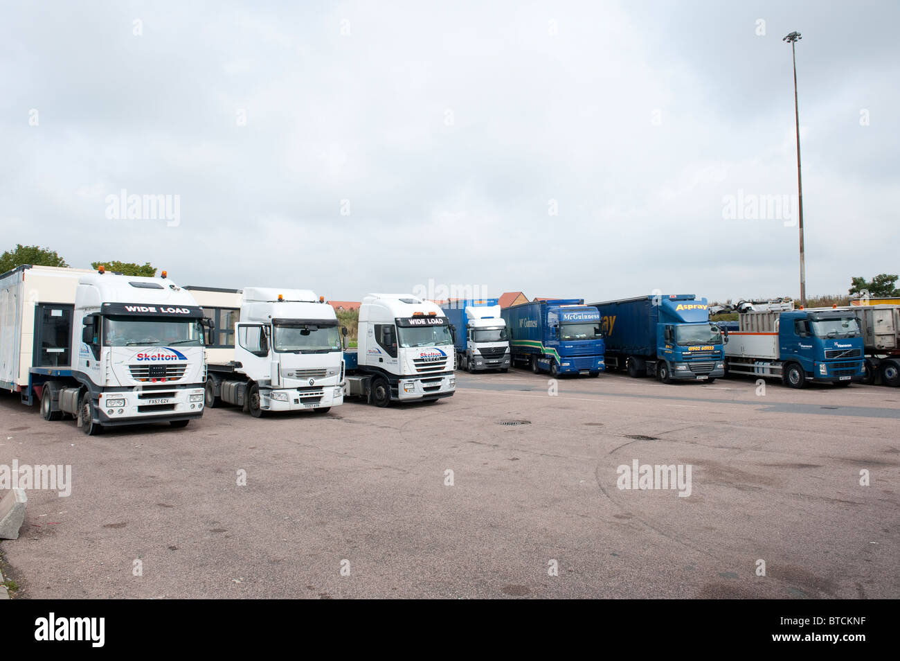 HGV lorries parked in a motorway service area in England. - Stock Image