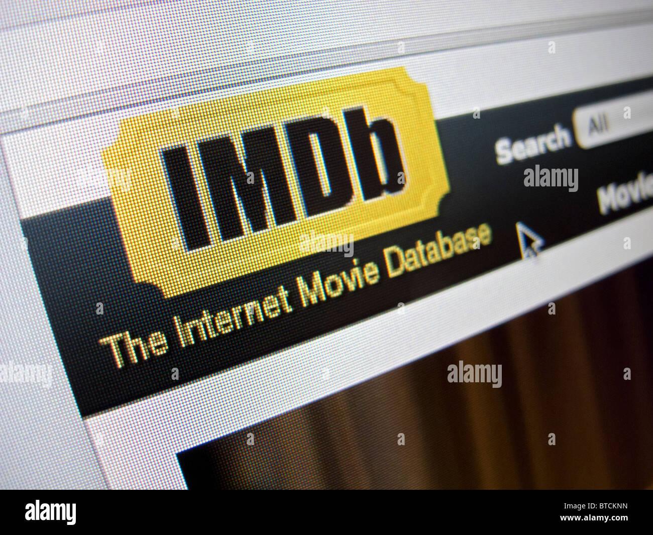 Detail of screenshot from IMDB imovie database  website homepage - Stock Image