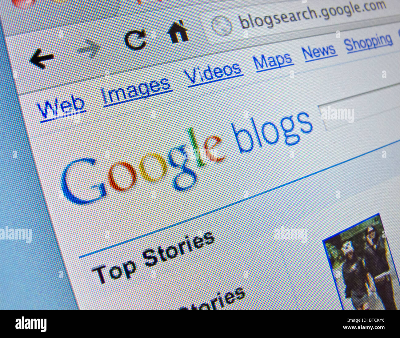 Screenshot from homepage of Google blogs website - Stock Image