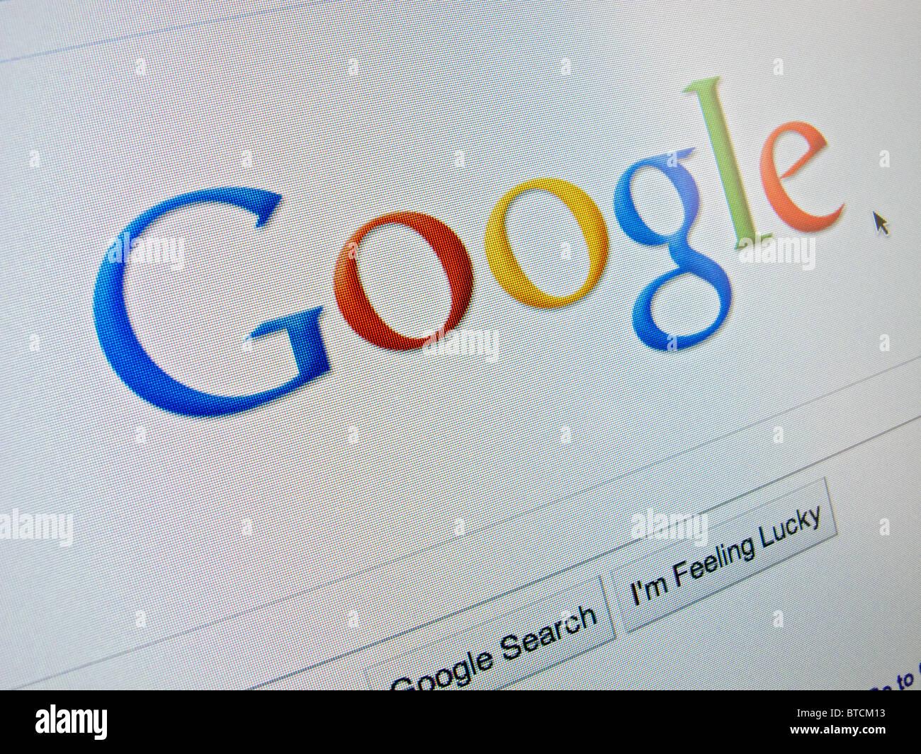 Screenshot from homepage of Google internet search engine - Stock Image