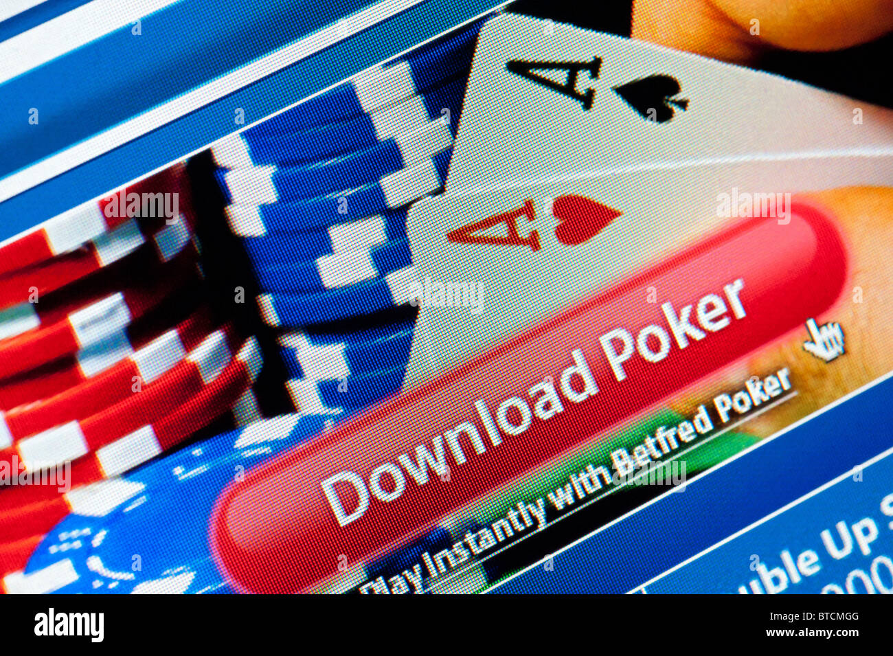 Detail of screenshot from online poker website Betfred - Stock Image