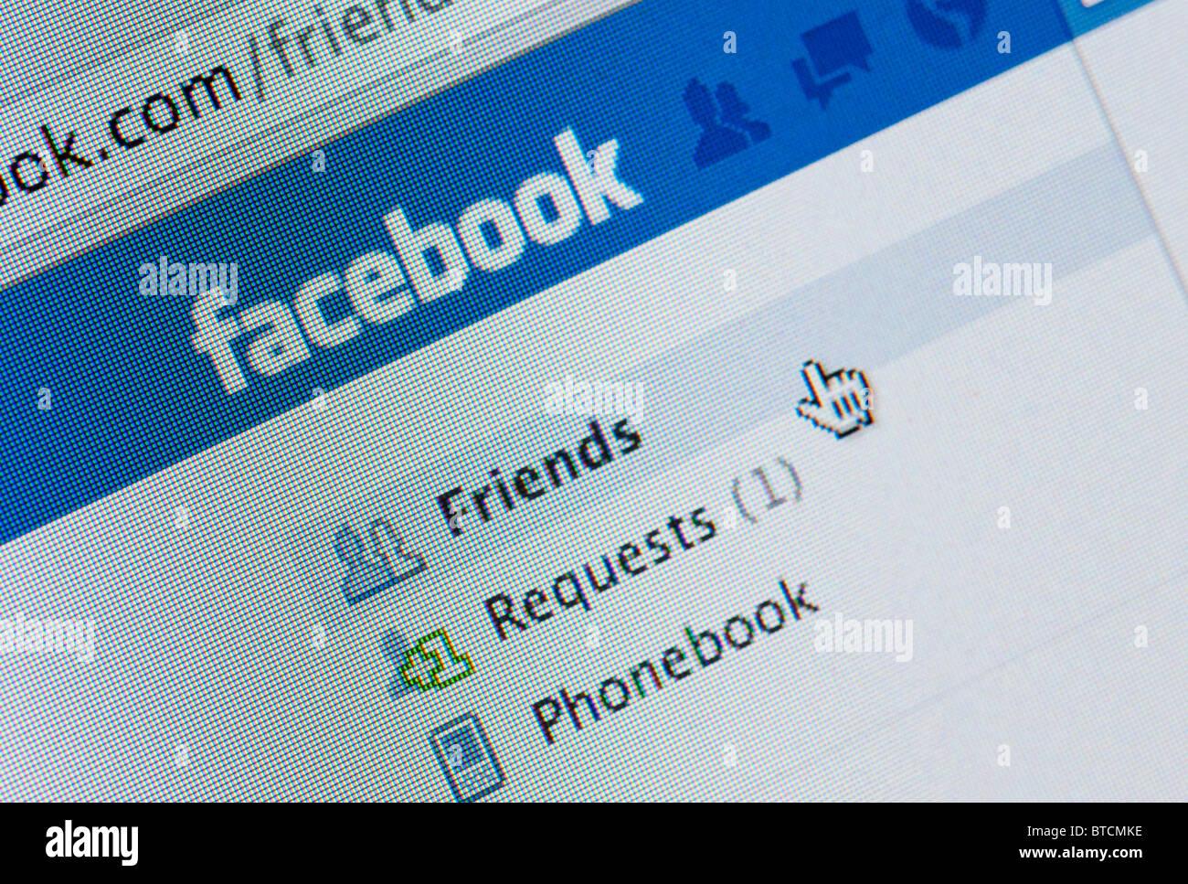 Detail of screenshot from website of Facebook social networking website - Stock Image