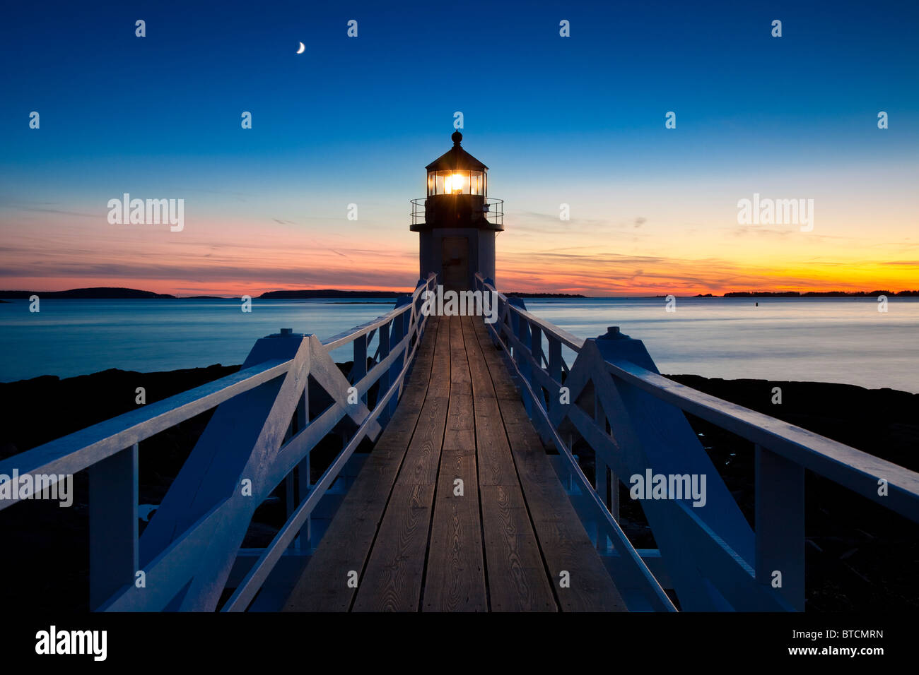 Twilight at Marshall Point Lighthouse - built 1832, near Port Clyde Maine USA - Stock Image