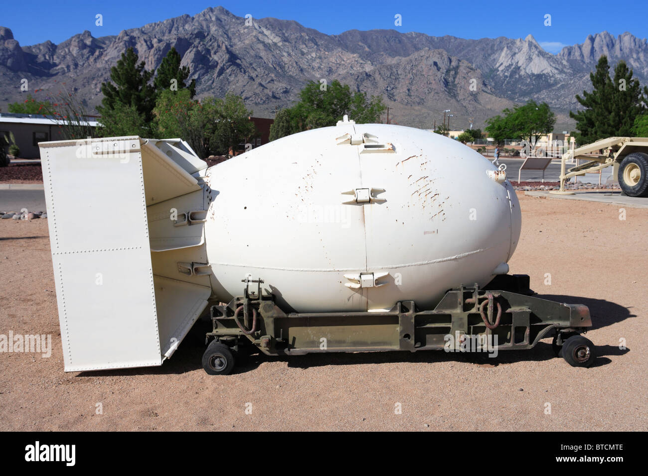An atomic bomb casing on display at the White Sands Missile Range Museum, New Mexico. - Stock Image