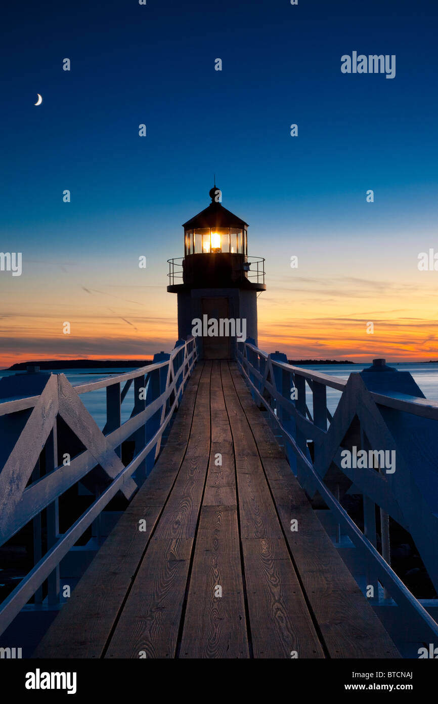 Twilight at Marshall Point Lighthouse - built 1832, near Port Clyde Maine USA - Stock Image