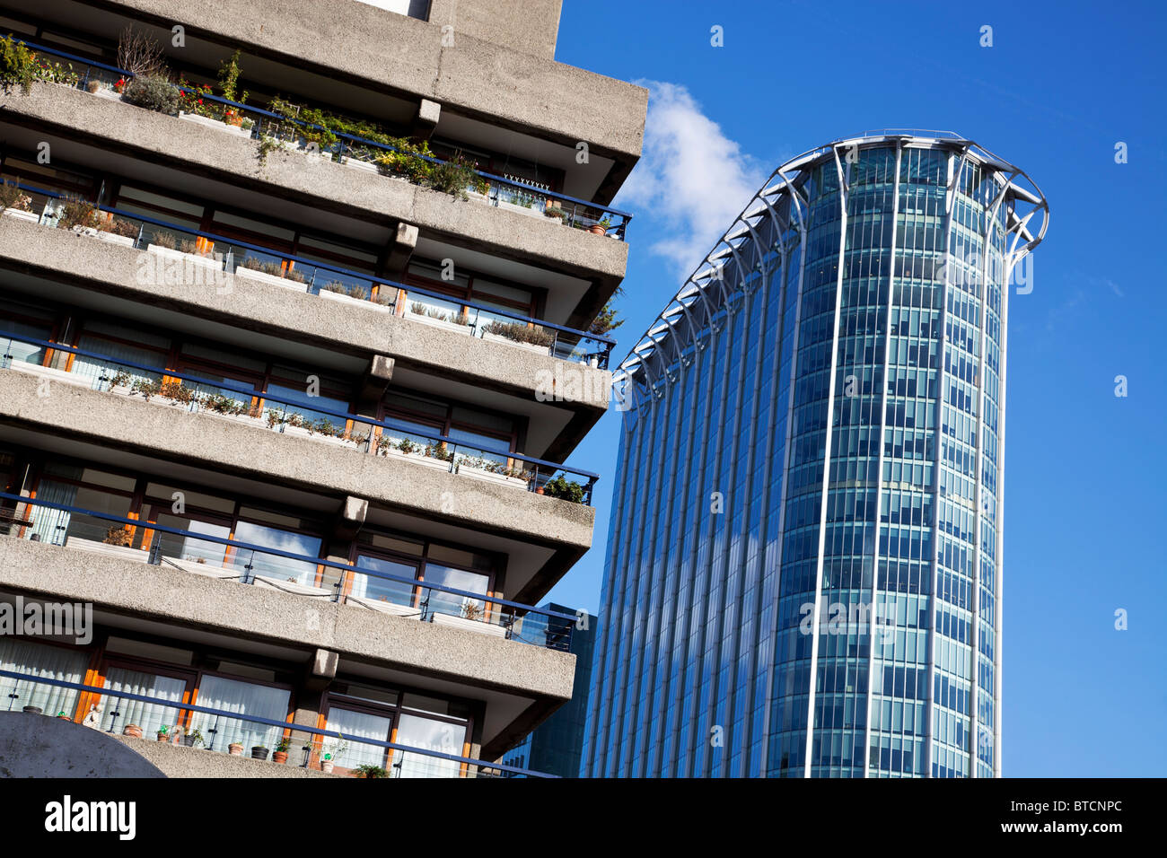 Barbican Estate and Citypoint building in London, UK - Stock Image