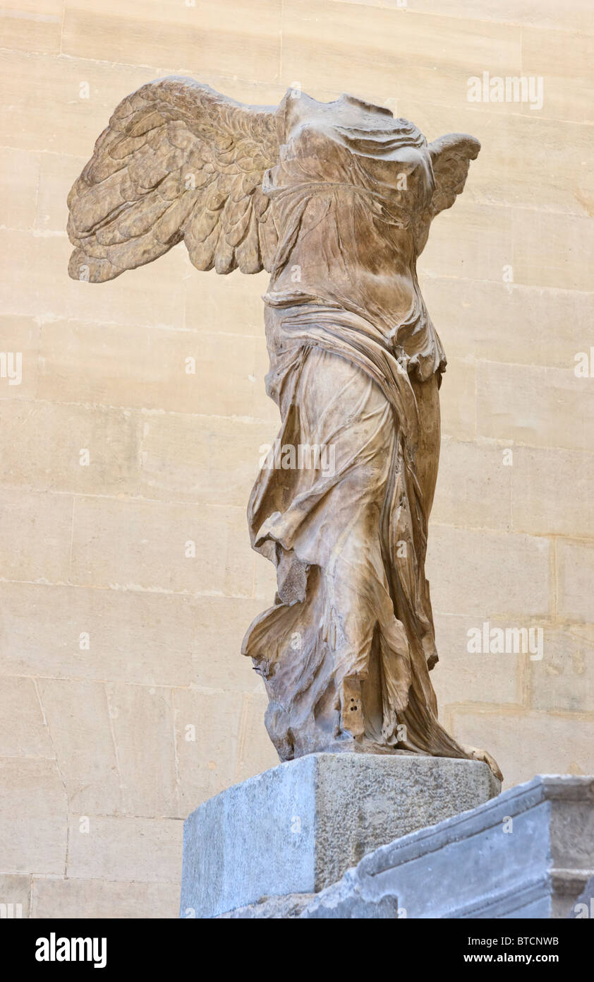 Nike of Samothrace or Winged Victory of Samothrace Statue closeup Louvre  Museum Paris. Marble, second century BC