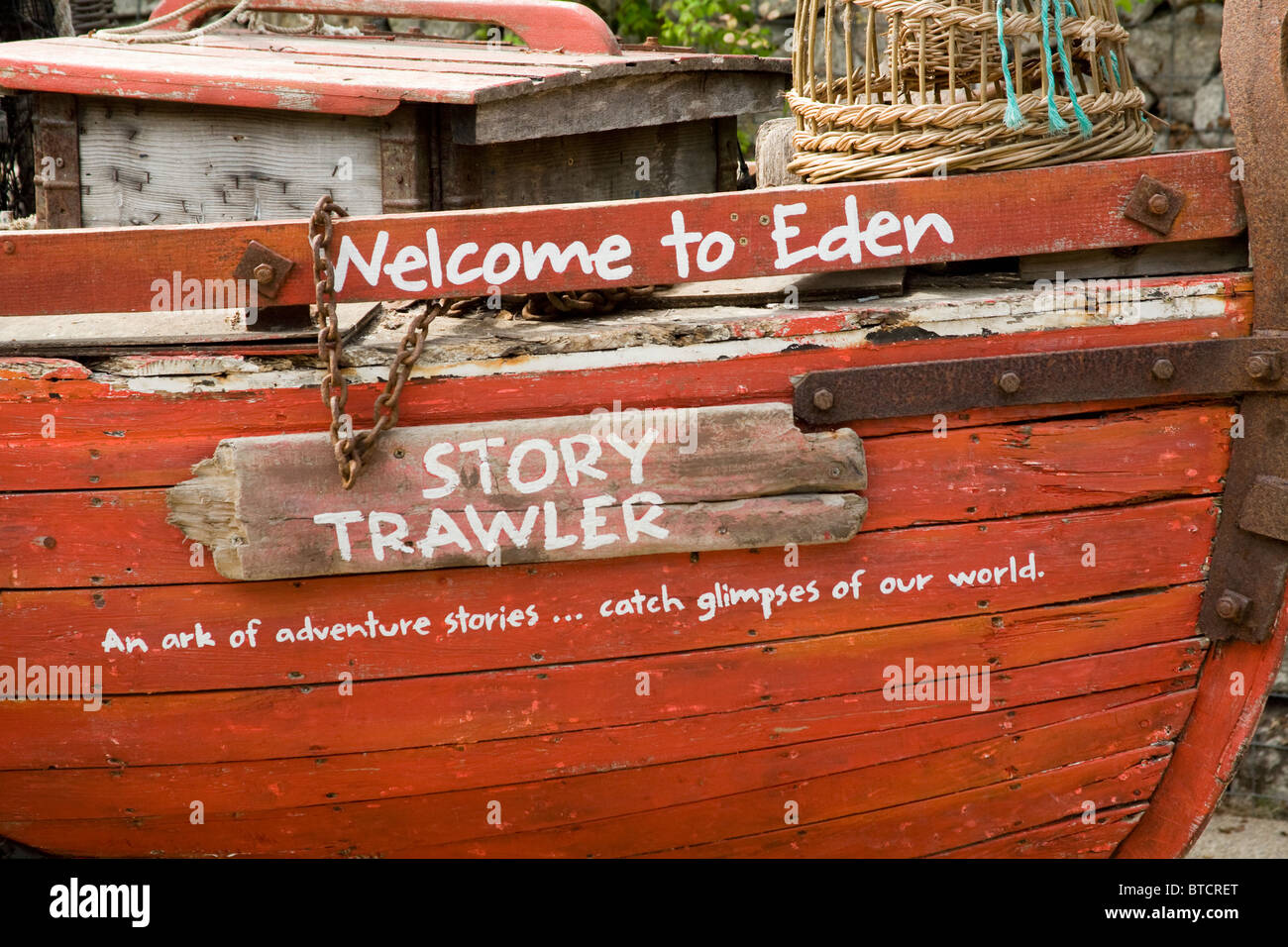 Wooden boat Sculpture Piece of Art Eden Project United Kingdom Stock Photo