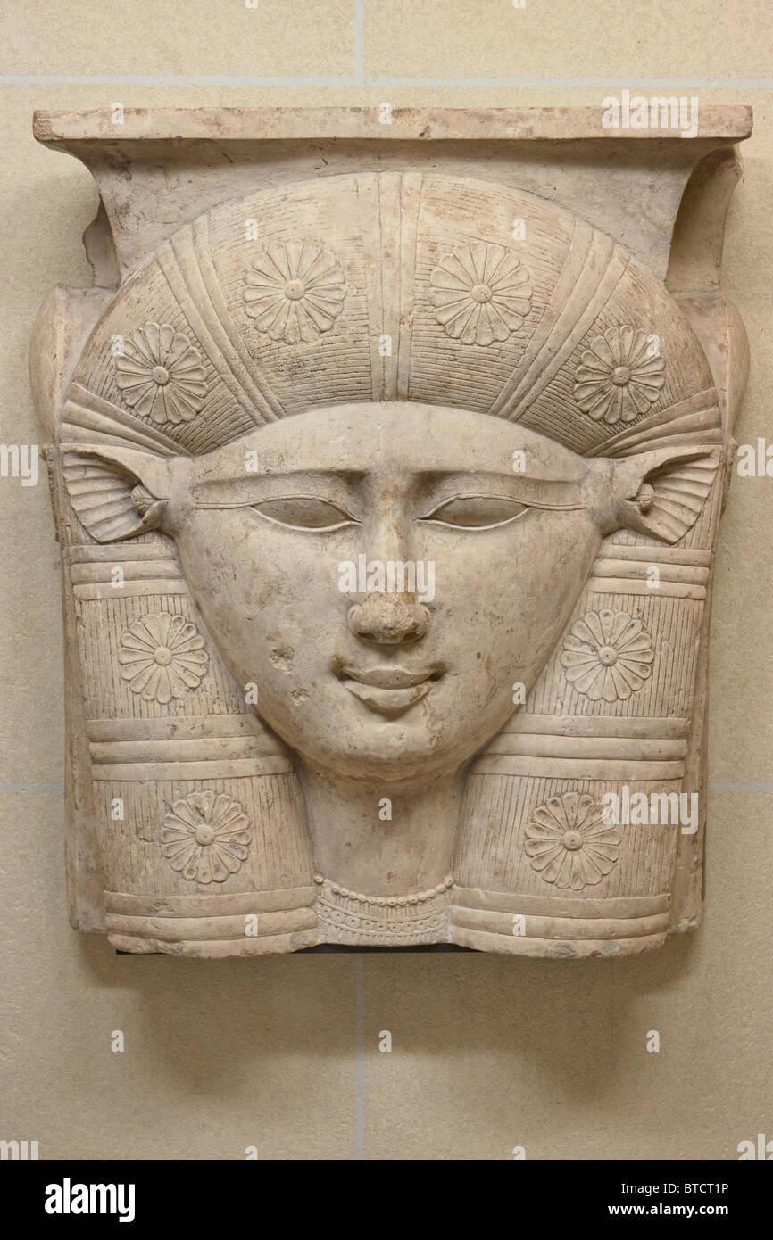 Hathor Egyptian Goddess head relief Louvre Museum Paris - Stock Image