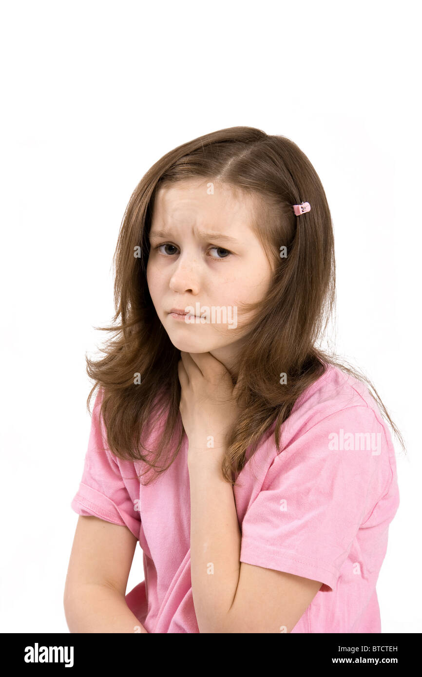 The girl keeps a hand for a sick throat - Stock Image